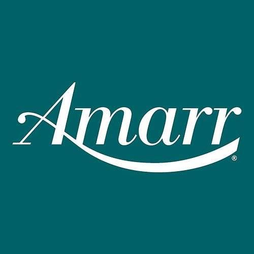 Turquoise Amarr garage door logo